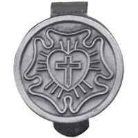 Lutheran Rose Auto Visor Clip Pewter