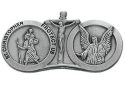 St. Christopher, Angel Protect Us Visor Clip