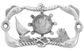 St. Christopher Protect My Boat Sign Pewter