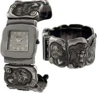 Dark Silver Love, Faith, Hope Cuff Watch