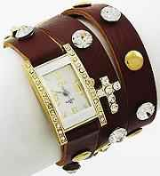 Brown Cross Studs Wrap Watch Bracelet