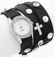Black Letherette Cross Studs Wrap Watch Bracelet