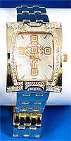 Large Gold Square Rhinestone Cross Watch