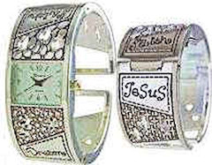 Silver Jesus Faith Cuff Watch Wide