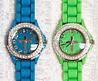 Rhinestone Silicone Jelly Womans Cross Watch