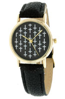 Black Gold Cross Watch Leather Band Woman's