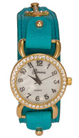 Turquoise Leather Rhinestone Cross Watch