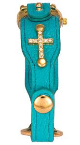 Turquoise Leather Rhinestone Cross Watch