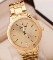Designer Rose Gold Plated Geneva Calendar Watch Women Large Face