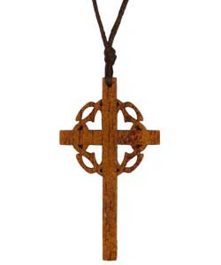 Cross with Crown Wood Necklace