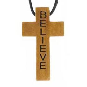 Wood Cross Necklace - Engraved -  Believe