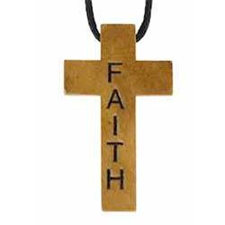 Wood Cross Necklace - Engraved -  Faith