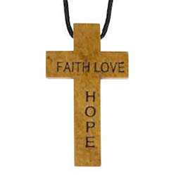 Wood Cross Necklace - Engraved -  Faith Hope Love