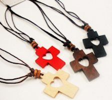 Wood Cross Pendant w/ Carved Heart