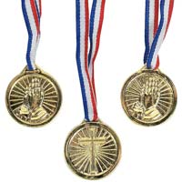 Christian Gold Award Medals Necklace Youth