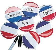 Red White Blue Name Badges