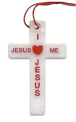 Jesus Loves Me Cross Necklace  -  White