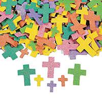 Foam Self-Adhesive Glitter Crosses (Pkg of 500)