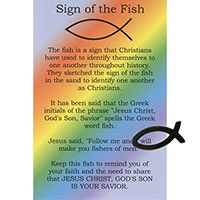 Cheap Pocket Hematite Christian Fish and Card