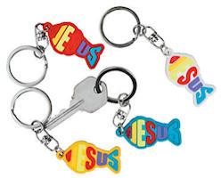 Jesus Fish Christian Key Chains - Rubber