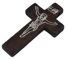 Crucifix White Engraved Wood Pocket Cross