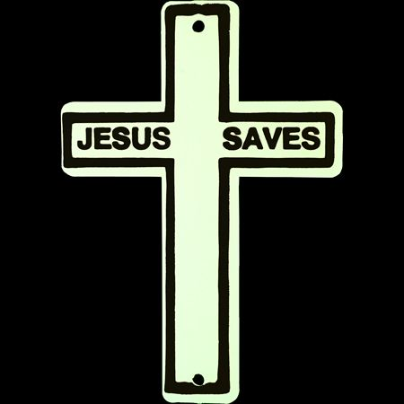Glow in the Dark Jesus Saves Cross