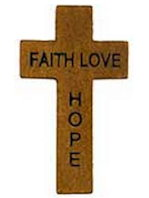 #3798 Faith Hope Love Engraved Wood Pocket Cross