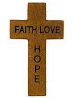 Faith Hope Love Wood Pocket Cross