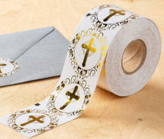 500 Gold Foil Cross Labels