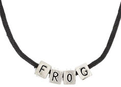FROG Silver Blocks on Cord Necklace