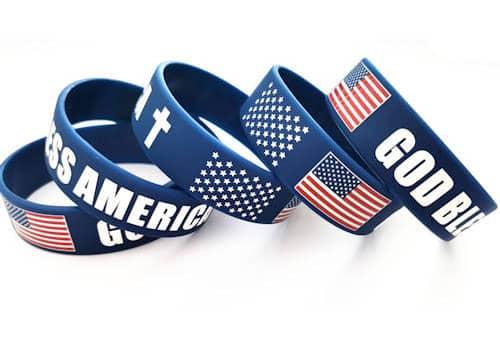 Blue God Bless America Silicone Bracelet - USA
