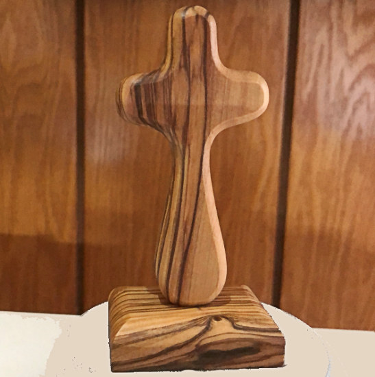 Wood Hand Prayer Cross with Stand Comfort Edged