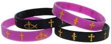Black Gold Cross Silicone Bracelets