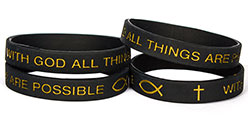 8597 All Things Are Possible Adult Black Silicone Bracelet