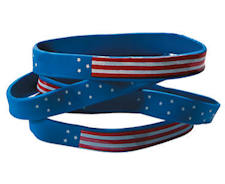 12 Usa Flag Silicone Bracelet  (Dozen)