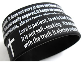 Love is Patient, Kind Silicone Bracelet Black