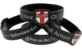 Armor Of God Black Faith Shield Silicone Bracelet