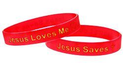 Jesus Saves-Jesus Loves Me Silicone Bracelets (Pkg of 12)