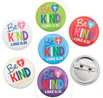 Be Kind Mini Heart Cross Buttons  (Pkg of 24)